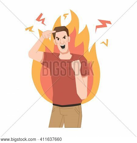 Aggressive Man Screams, Shows Gestures Of Rage, Burns With Anger, Fire Behind His Back. Furious Scre