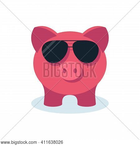 Fashionable Piggy Bank With Goggles. Conservation Of Funds Concept. Saving Money. Vector Illustratio