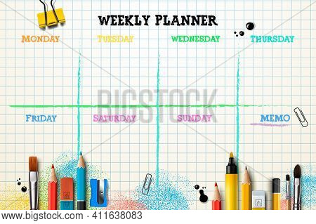 Weekly Planner Template. Organizer And Schedule With Place For Memo. Vector Illustration