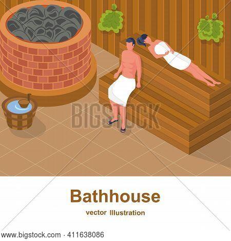 Bathhouse. A Woman And A Man Take A Steam Bath And Relax In A Bath. Healthy Lifestyle. Steam Room. L