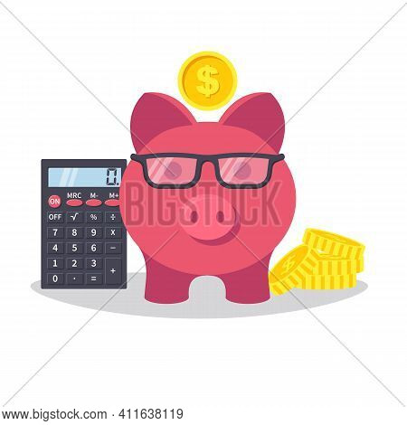 Smart Piggy Bank, Pink Pig With Glasses And Stack Of Coins And Calculator. Calculations Of Accumulat