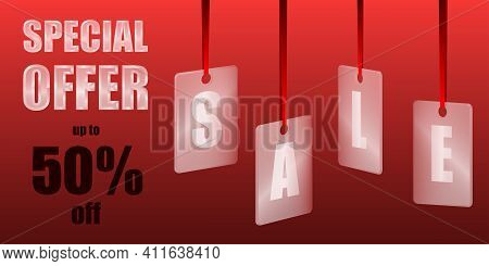 Sale Special Offer. Translucent Glass Or Plastic Cards With Letters On Red Silk Ribbons With Red Bac