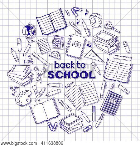 Back To School Hand Lettering, School Supplies And Office Stationary Stickers And Patches In Circle
