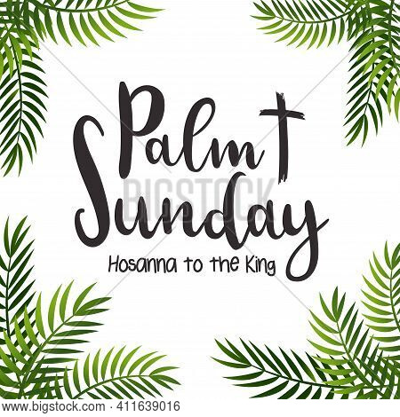 Palm Leaf  Background.palm Sunday Poster With Hand Drawn Lettering, Palm Branches And Cross.celebrat