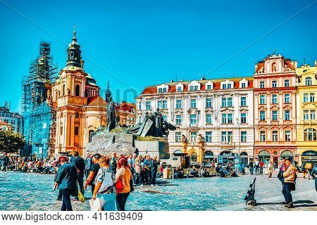 Prague, Czech Republic-september 12, 2015:church Of St Nicholas And Jan Hus Monumenton Historic Squa