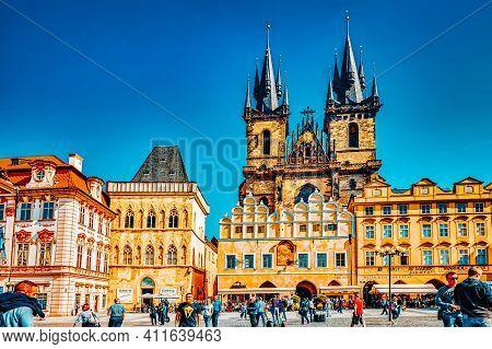 Prague, Czech Republic-september 12, 2015: Main Building Of The National Museum In Prague.czech Repu