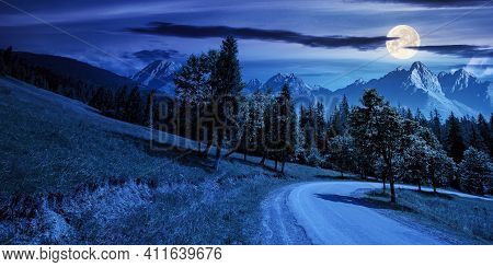Asphalt Road Through Forested Mountains At Night. Beautiful Countryside Transportation Background. C