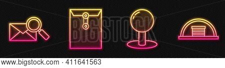 Set Line Push Pin, Envelope With Magnifying Glass, Envelope And Hangar. Glowing Neon Icon. Vector