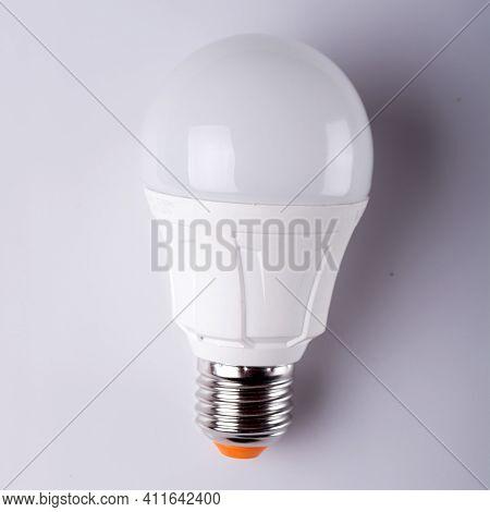 Led Bulbs Close-up. Led Bulbs On A Wooden Background. Led Bulbs On A White Background. Saving Energy
