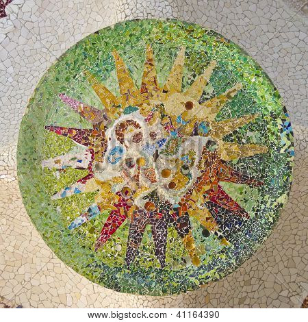 Ceiling With Mosaic Sun Of Park Guell