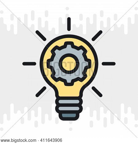 Business Innovation Concept Icon. Light Bulb With A Gear Inside. Simple Color Version On A Light Gra