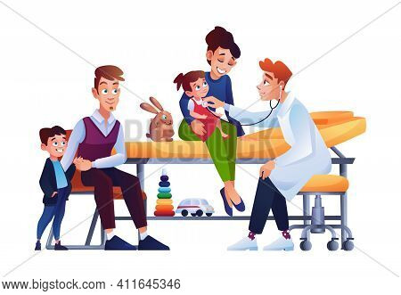 Children With Parents At Pediatrician Appointment, Mother With Newborn Girl Sitting On Medical Care,