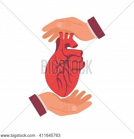 Hands Protect The Human Heart. Vector Illustration Flat Design. Isolated On White Background. Concep