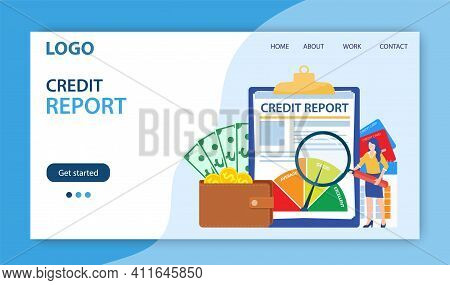 Credit Report Document Concept Landing Page Website . Money , Credit Card, Lending, Infographic, Wit