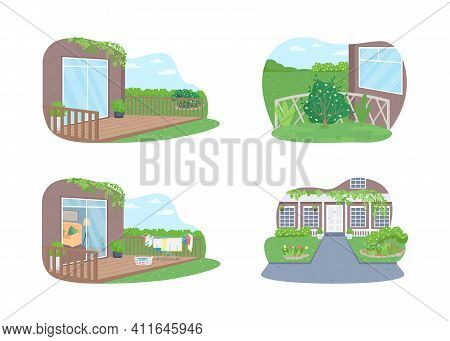 Outdoor Suburban Home 2d Vector Web Banner, Poster Set. Outside Spring Cleaning. Laundry On Clothesl