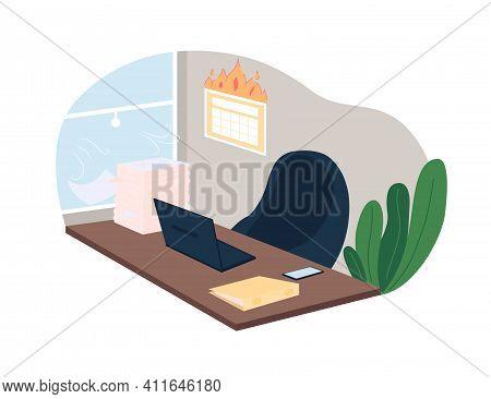 Work Deadline And Workload 2d Vector Web Banner, Poster. Workplace, Burning Calendar. Office Desk Wi