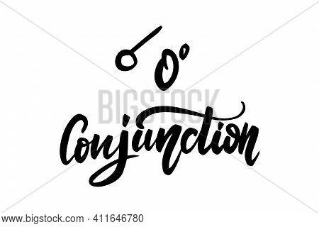 Vector Hand Drawn Brush Ink Illustration Of Conjunction Astrological Sign