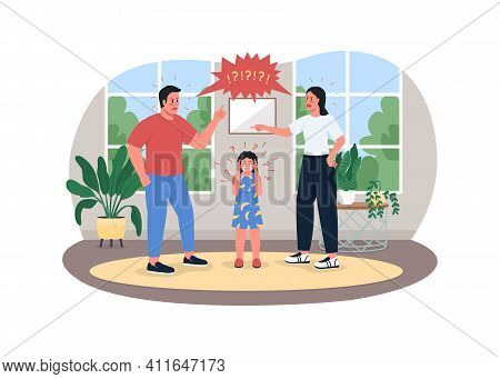 Parents Fighting 2d Vector Web Banner, Poster. Angry Mother And Father. Crying Girl. Man And Woman A