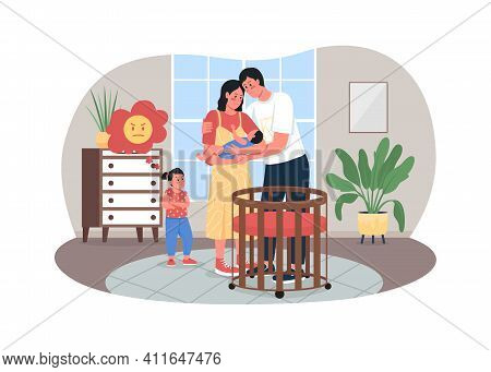 Sibling Rivalry 2d Vector Web Banner, Poster. Jealous Sister. Father, Mother, Baby And Daughter In N