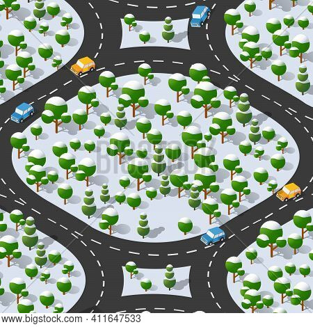 Suburban Highway Road Turn. Isometric View Of The Projection Of A Winter