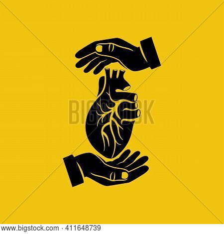 Hands Protect Black Silhouette Human Heart. Vector Illustration Flat Design. Isolated On White Backg