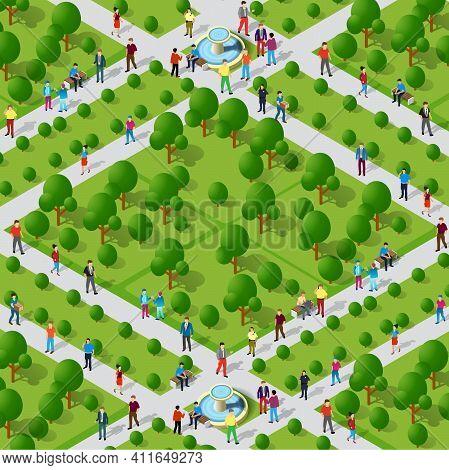 City Quarter Park Top View Landscape Isometric 3d Projection