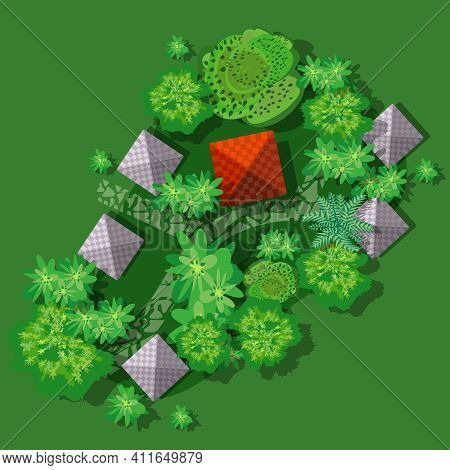 Top View Of Countryside With Forest, Grass With Chalet