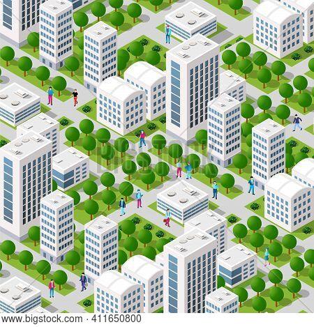 Isometric Street Crossroads 3d Illustration Of The City Quarter