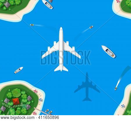 Seamless Pattern Landscape For Recreation. Top View Of The Island