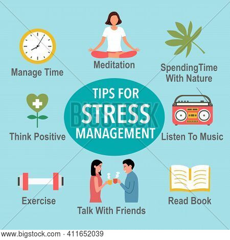 Tips For Stress Management With Useful Advices Infographic Concept Vector Illustration. Stress Relie