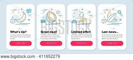 Set Of Nature Icons, Such As Moon Stars, Coconut, Water Care Symbols. Mobile App Mockup Banners. Sun