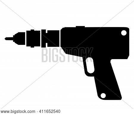 Vector Drilling Machine Silhouette Object Element Retro Of Drill