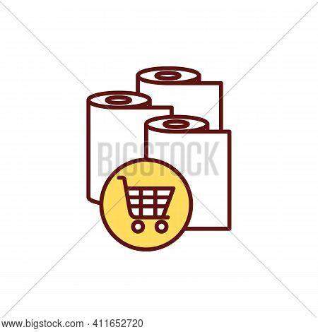 Panic Buying Rgb Color Icon. Stockpiling Toilet Paper. Spreading Disinformation. Coronavirus Panic.