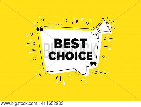 Best Choice. Megaphone Yellow Vector Banner. Special Offer Sale Sign. Advertising Discounts Symbol.