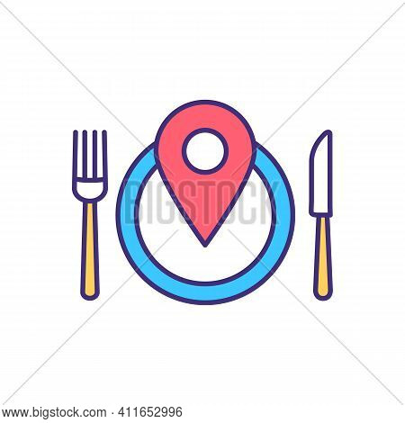Food Travel Rgb Color Icon. Local Restaurant And Cafe. Street Food. Culinary Tourism. Fine Dining. C