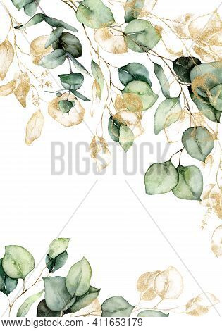 Watercolor Border Of Gold Eucalyptus Branches, Leaves And Seeds. Hand Painted Card Of Plants Isolate