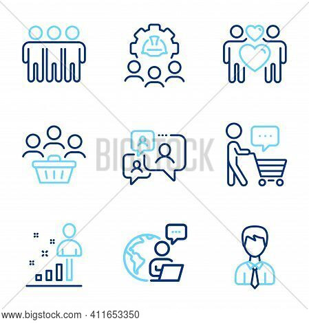 People Icons Set. Included Icon As Engineering Team, Support Chat, Businessman Signs. Love Couple, B