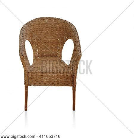 Front View Beautiful Wooden Chair With Backrest On White Background, Object, Furniture, Copy Space