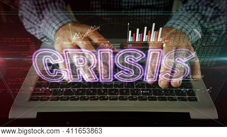 Crisis On Screen With Man Typing On The Computer