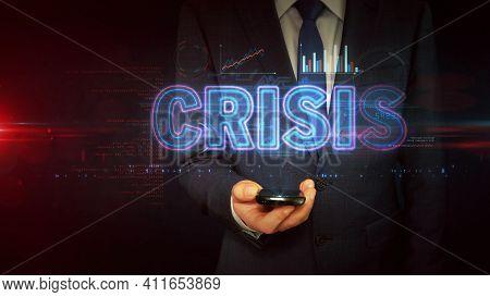 Crisis On Businessman Hand