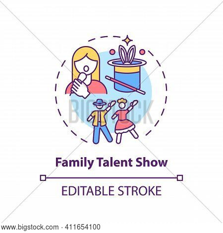 Family Talent Show Concept Icon. Family Fun Ideas. Time To Show Skills Of Parents And Kids. Interest