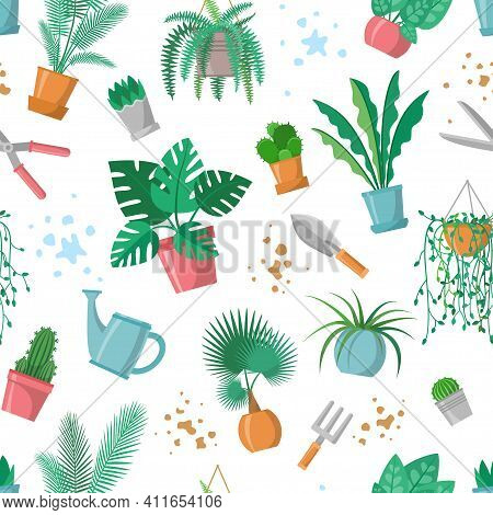Seamless Pattern With Plants And Garden Tools, Home Plant Repeated Ornament, Decoration For Plant An