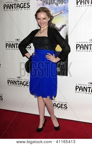 LOS ANGELES - JAN 15:  Darcy Rose Byrnes arrives at the opening night of 'Peter Pan' at Pantages Theater on January 15, 2013 in Los Angeles, CA