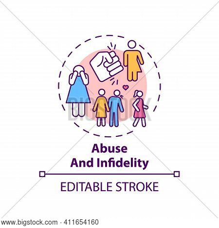 Abuse And Infidelity Concept Icon. Online Family Therapy Types. Fighting With Toxic Relationships Id