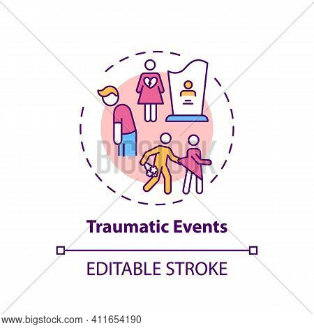 Traumatic Events Concept Icon. Online Family Therapy Types. Experiences That Put Person At Risk Of H