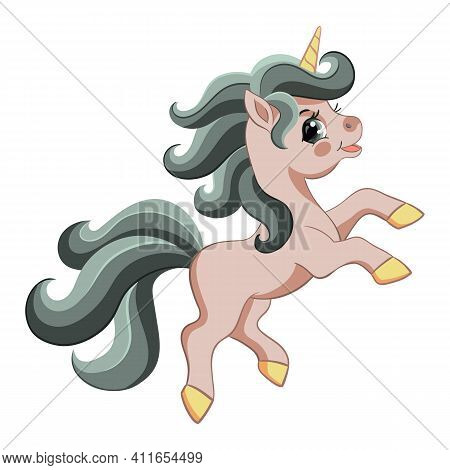 Cute Cartoon Pink Unicorn With Green Mane. Vector Isolated Illustration. For Postcard, Posters, Nurs