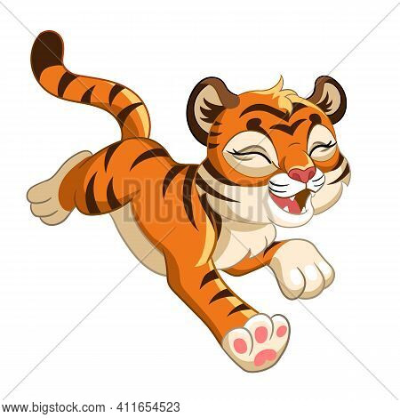 Cute Funny Tiger. Cartoon Character. Vector Isolated Colorful Illustration. For Print And Design, Po