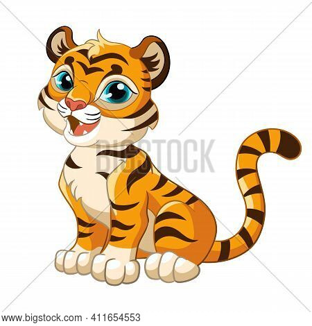 Sitting Cute Tiger. Cartoon Character. Vector Isolated Colorful Illustration. For Print And Design,