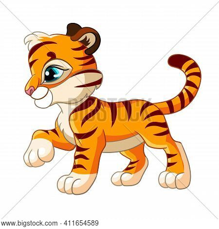 Little Cute Tiger. Cartoon Character. Vector Isolated Colorful Illustration. For Print And Design, P