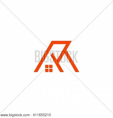 Letter R M Simple House Geometric Line Logo Vector